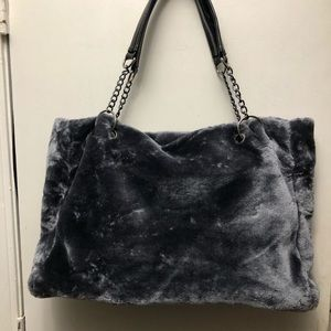 Womens large soft gray faux fur purse. Brand NEW